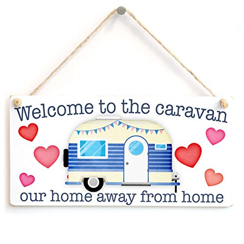 Welcome to The Caravan Our Home Away from Home - Lovely Welcome Sign for Hanging Inside Your Caravan from Button Hill Cottage