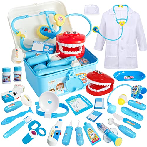 Buyger 35 Pcs Kids Doctors Kit Dress Up Costumes for Children Pretend Role Play Medical Carry Case with Electronic Stethoscope from Buyger