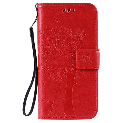 C-Super Mall-UK Apple iPhone 5 / 5S / SE Case, Embossed Tree Cat Butterfly Pattern PU Leather Wallet Stand Flip Case for Apple iPhone 5 / 5S / SE(Not For Apple iPhone 5C) (red) from C-Super Mall-UK