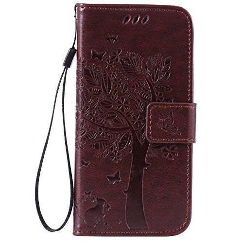 C-Super Mall-UK Apple iPhone 6 / 6s 4.7 Inch Case, Embossed Tree Cat Butterfly Pattern PU Leather Wallet Stand Flip Case for Apple iPhone 6 / 6s 4.7 Inch(brown) from C-Super Mall-UK