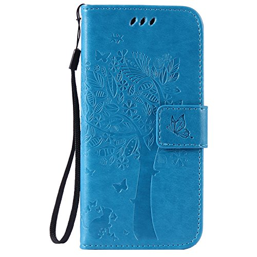 C-Super Mall-UK Apple iPhone 7 Case, Embossed Tree Cat Butterfly Pattern PU Leather Wallet Stand Flip Case for Apple iPhone 7 (blue) from C-Super Mall-UK