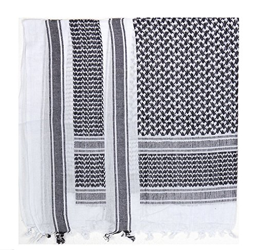 ARMY MILITARY SAS RETRO DESERT 100% COTTON LARGE SHEMAGH ARAB SCARF (Black/White) from C.I.