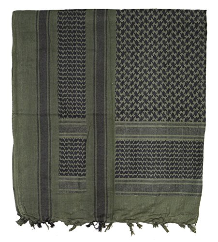 ARMY MILITARY SAS RETRO DESERT 100% COTTON LARGE SHEMAGH ARAB SCARF (Olive/Black) from C.I.