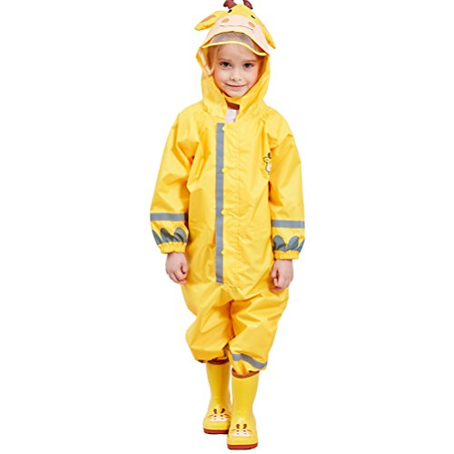 CADong Childrens Waterproof Rainsuit, All in One Dry Suit for Outdoor Play. Ideal Outerwear for Boys and Girls (Yellow, L/7-10Y) from CADong