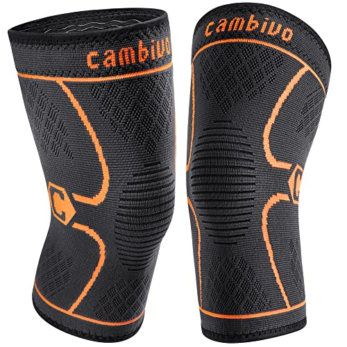CAMBIVO 2 x Knee Support for Men Women, Compression Knee Brace Sleeves for Running, Meniscus Tear, Arthritis, ACL, Joint Pain Relief and Ligament Injury Recovery, Skiing, Sports Weight Lifting from CAMBIVO