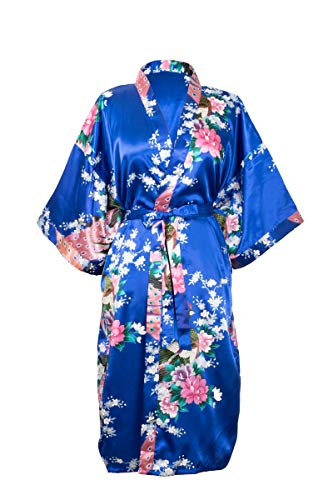 CC Collections Kimono dressing gown robe sexy lingerie night wear dress women lady bridesmaid hen night Japanese oriental peacock style luxurious silk satin rayon natural feel (Blue Royal) from CCCollections