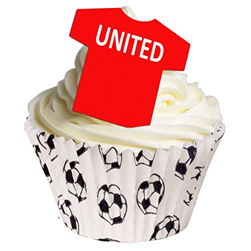 24 Edible T Shirt Decorations - great for United fans - perfectly pre-cut wafer just pop them out the packaging and top them on your cake - Pack of 24 - by CDA Products Ltd from CDA Products