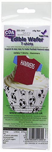 24 pre-cut edible wafer decorations - Edible T Shirts - Hammers - by CDA Products - you receive 2 packs of 12 - 201-265 - these toppers look great on cupcakes, fairycakes and every cake. from CDA Products