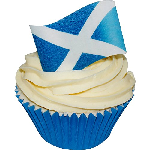 Edible Cake Topper - Wafer St Andrews Cross - Scottish Flag - Pack of 24 - 201-827 from CDA Products