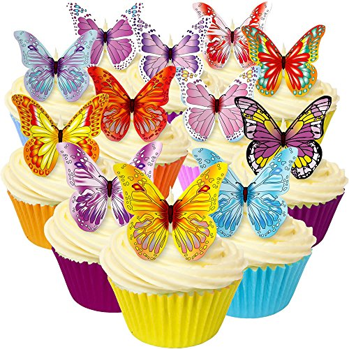 Mixed pack of 12 different and beautiful pre-cut edible wafer butterfly decorations by CDA Products 201-214 great as cupcake toppers or to decorate any cake from CDA Products