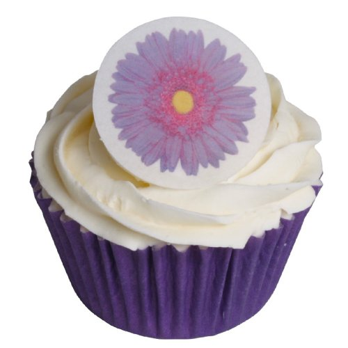 Pack of 12 - Edible Pre-Cut Wafer Purple Gerbera Cake Toppers 201-250 from CDA Products