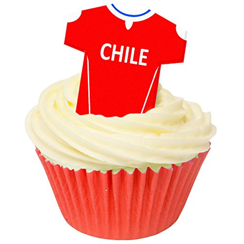 Pack of 12 Edible Wafer Decorations - Chile Football Shirts 201-430 from CDA Products