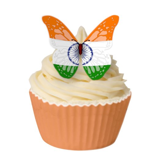 Pack of 12 Edible Wafer Decorations - Indian Flag Butterfly 201-299 from CDA Products