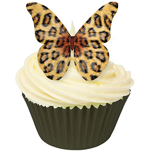 Pack of 12 Edible Wafer Decorations - Leopard Skin Design Edible Wafer Butterflies 201-225 from CDA Products