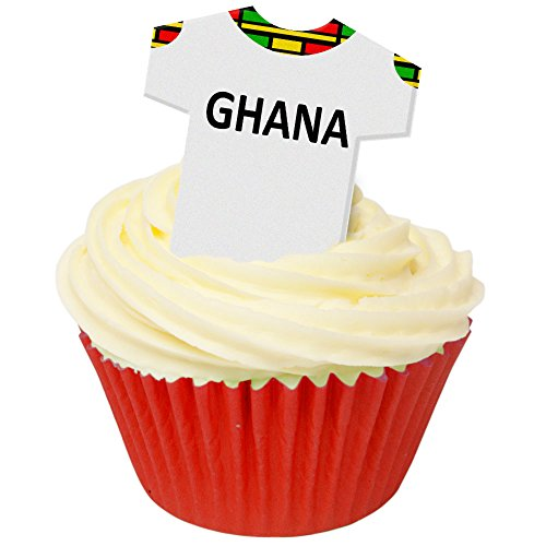 Pack of 12 Edible Wafer Decorations - Pays Maillots Ghana (Ghana) Football Shirts 201-490 from CDA Products