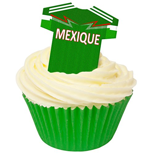Pack of 12 Edible Wafer Decorations - Pays Maillots Mexique (Mexico) Football Shirts 201-491 from CDA Products