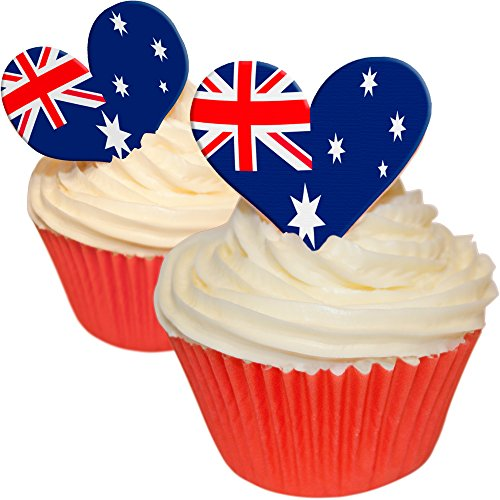 Pack of 12 Edible Wafer Cake Decorations - pre-cut Australian flag mixed heart shapped toppers 201-372 by CDA Products from CDA Products