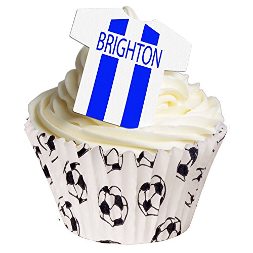 Pack of 12 - Pre-Cut Edible Brighton and Hove Albion deocrations 201-181 from CDA Products
