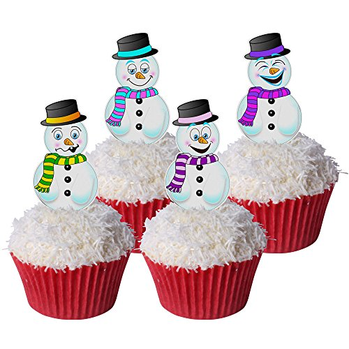Pack of 12 Pre-Cut Edible Wafer Decorations - Snowman Toppers 201-524 from CDA Products