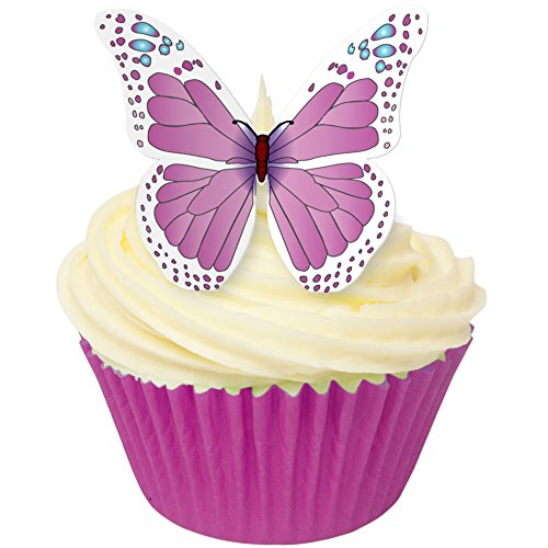 Pack of 12 beautiful CDA edible wafer butterflies in Pink & Blue - great as cake toppers or any other decoration from CDA Products