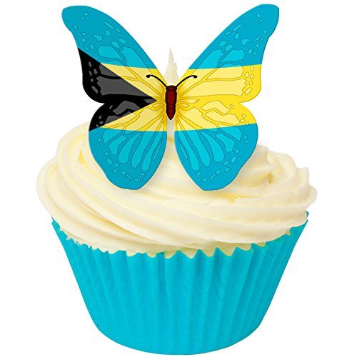 Pack of 12 perfectly cut Bahamas Flag Butterfly by CDA Products 201-513 from CDA Products