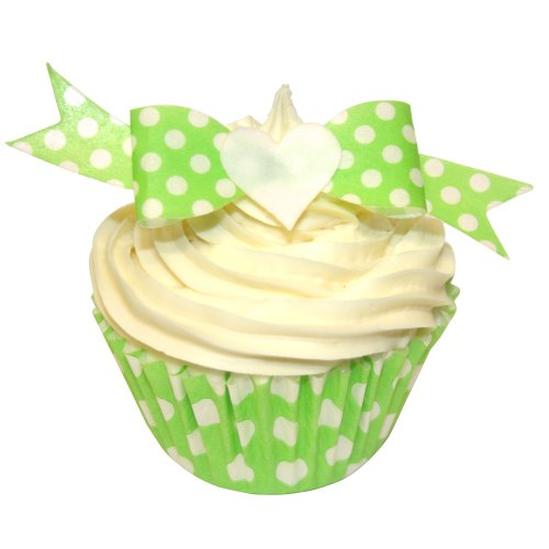 Pack of 12 perfectly cut Green Polka Dot Bows by CDA Products 201-649 from CDA Products