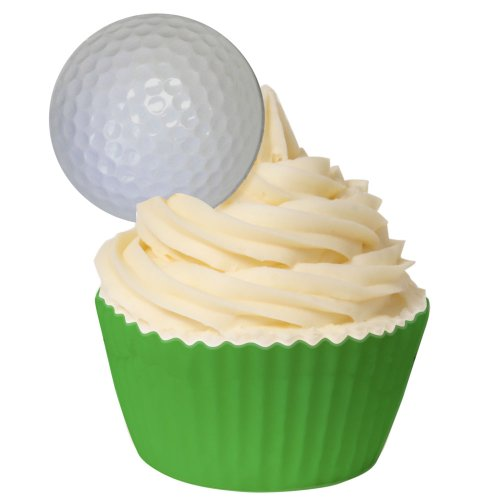 Pack of 24 Edible Golf Ball Cake Decorations 201-117 by CDA Products - all perfectly pre-cut from CDA Products