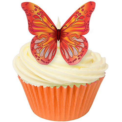 Pack of 24 Edible Wafer Decorations - Edible RED & ORANGE wafer butterflies 201-211-24 from CDA Products