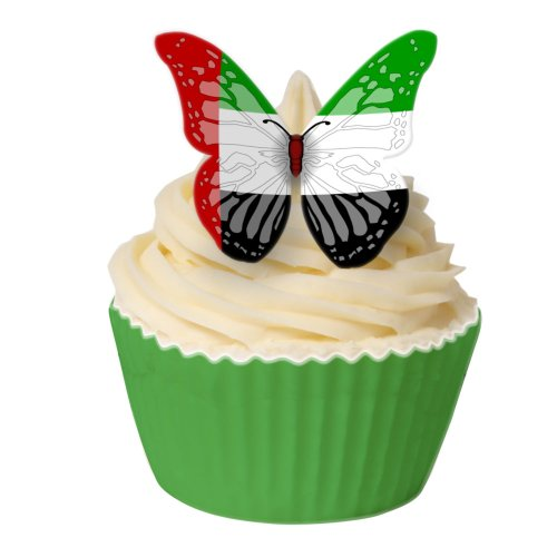 Pack of 24 Edible Wafer Decorations - UAE Flag Butterflies 201-201-24 from CDA Products