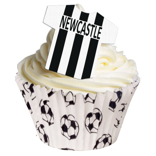 Pack of 24 Newcastle Edible Wafer T Shirt Decorations - Great for football themed cakes for United fans - 201-166-24 from CDA Products