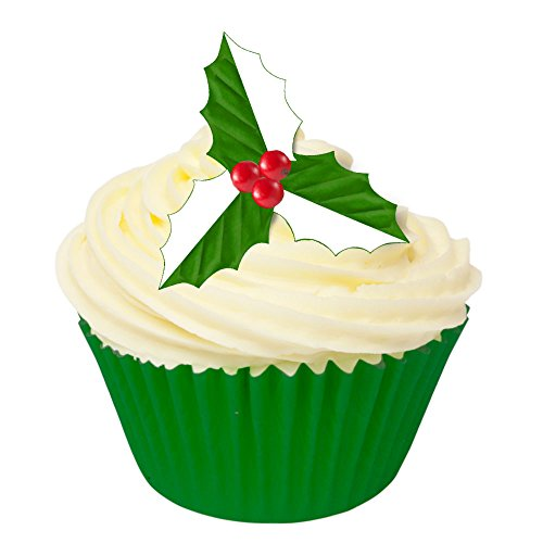 Pack of 24 Pre-Cut Edible Wafer Decorations - Holly Leaves (Green & White) 201-413-24 from CDA Products