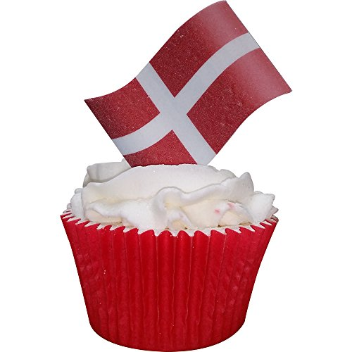 Pack of 24 pre-cut edible wafer Danish Flag decorations by CDA Products 201-900-24 from CDA Products