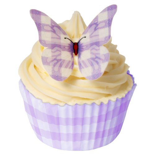 Pack of 24 pre-cut decorations - Purple gingham butterflies 201-130-24 from CDA Products