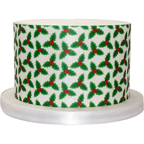 Single A4 Sheet of Large Holly Patterned Paper - Great as an edible cake wrap - 205-008 from CDA Products