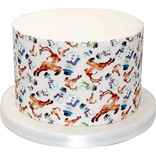 Six A4 Sheet of Reindeer & Snowmen Patterned Paper - Great as an edible cake wrap - 207-010 from CDA Products