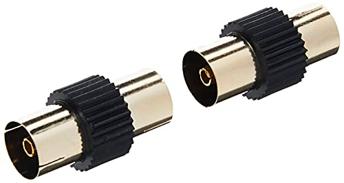 CDL Micro Gold Plated TV Coax Aerial Adapter Female to Female (F-F) Gender Changer/Joiner - Black (Pack of 2) from CDL Micro
