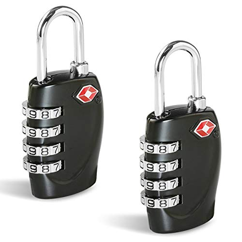 CFMOUR Suitcase Locks TSA Approved Luggage Locks (2 Pack) 4-Dial Combination Security Padlocks for Travel Suitcases Luggage Case Bag Code Lock - Black from cfmour