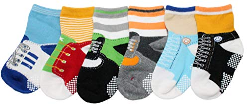 Baby Boys Kids 6-Pack SHOELACE Anti-slip Ankle Socks - ONE SIZE (Suitable for 1 to 3 years old) from CHIBIS