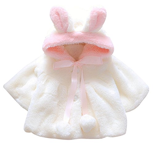 CHIC-CHIC Newborn Infant Baby Girl Faux Fur Warm Winter Hooded Cape Cloak Hoodie Coat (0-6 months, Off-white) from CHIC-CHIC