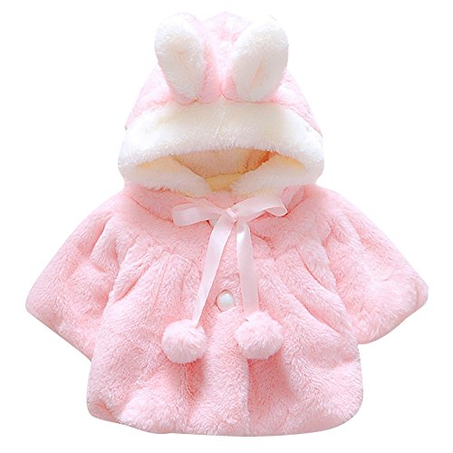 CHIC-CHIC Newborn Infant Baby Girl Faux Fur Warm Winter Hooded Cape Cloak Hoodie Coat (0-6 months, Pink) from CHIC-CHIC