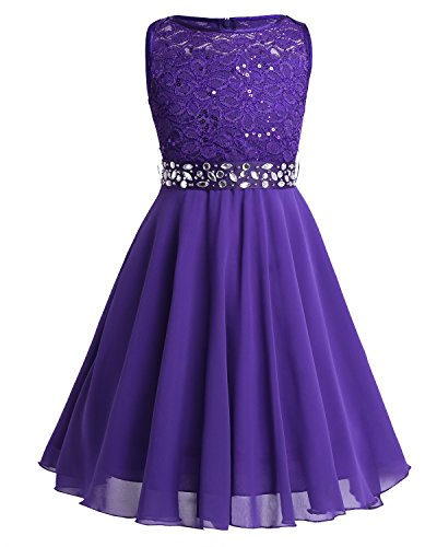 CHICTRY Kids Girls Sparkle Belt Sequin Lace Flower Girl Bridesmaid Wedding Party Dresses Purple 9-10 Years from CHICTRY