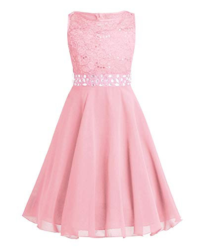 c51e084d11f6 CHICTRY Kids Girls Sparkle Belt Sequin Lace Flower Girl Bridesmaid Wedding  Party Dresses Pearl Pink 7