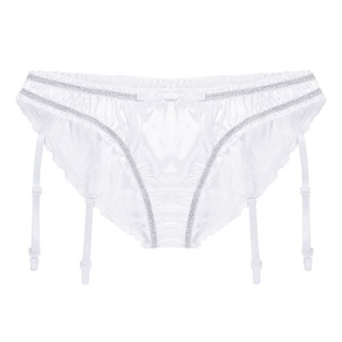 58a7354c35f7 CHICTRY Men's Liquid Satin Lined Panties Lingerie Sissy Underwear with  Garters White Medium(Waist 31.5