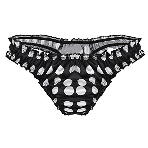 bda21efb3846 CHICTRY Men's Shiny Satin Ruffled Frilly Sissy Thong Flutter Crossdress  Panties Polka Dot Black Medium from