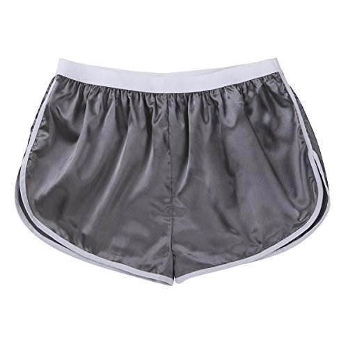7fe28b02f CHICTRY Men s Summer Silk Satin Shorts Frilly Boxer Briefs Casual Loose  Underwear Silver-Gray X
