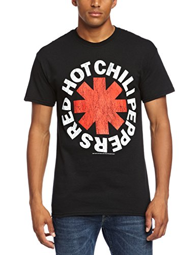 Probity Red Hot Chili Peppers Distressed Asterisk Men's T-Shirt Black X-Large from CID