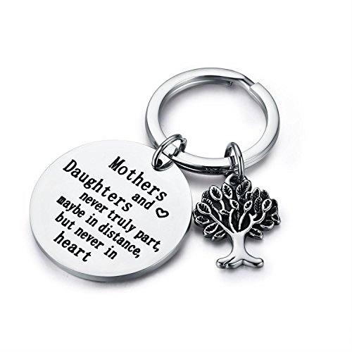 "CJ&M Family Tree Keychain Mother Daughter Gift""Mothers and Daughters Never Truly Part, Maybe in Distance.Mother Daughter Keychain,Christmas Gifts,Mother's Day Gifts from CJ&M"