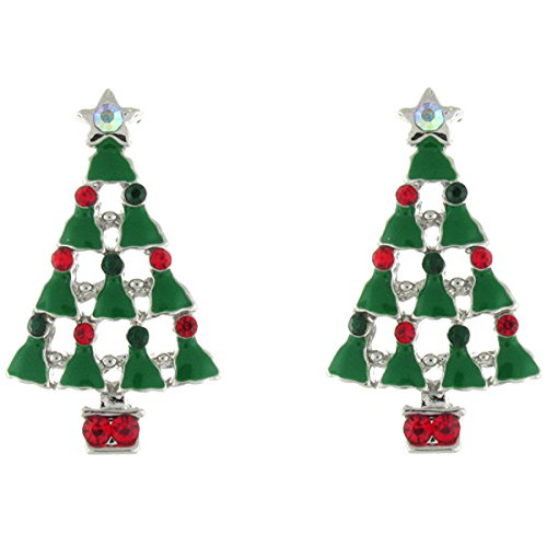 Clip On Earrings Store Green Enamel and Multi Crystal Christmas Tree and Angel Clip On Earrings from CLIP ON EARRINGS STORE