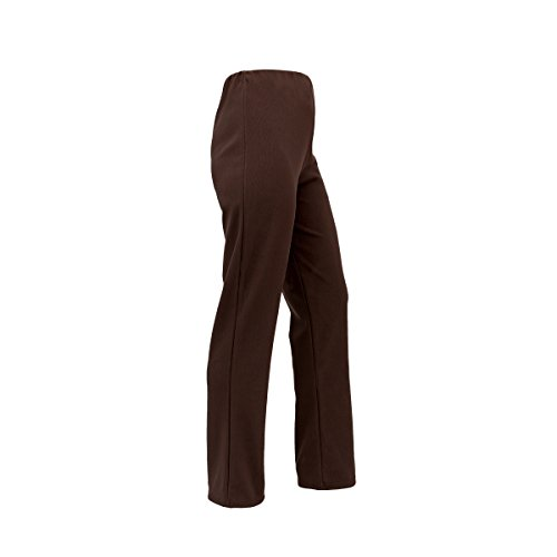 Ladies Stretch Bootleg Trousers Ribbed Womens Bootcut Elasticated Waist Pants Work WEAR Pull ON Bottoms Plus Big Sizes 8-26 Colour Black, Grey, Navy Brown (Large (14-16) 29L, Brown) from CMY
