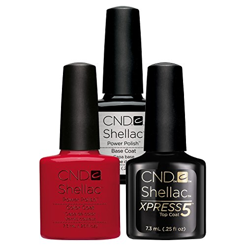 CND Shellac UV/LED Power Polish, Xpress5 Top/Base/Wildfire 7.3 ml - Pack of 3 from CND